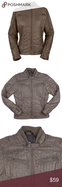 "The NORTH FACE Moto Midori Puffer Jacket Size - M  This taupe brown Moto Midori puffer motorcycle jacket from THE NORTH FACE is in absolutely excellent condition. Worn once, if that. It features a zip up closure, front zip pockets and a fitted style. Made of polyester.  Measures: Bust: 39"" Total Length: 24"" Sleeves: 25"" The North Face Jackets & Coats Puffers"