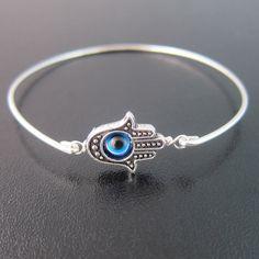 Hamsa Evil Eye Bracelet Silver Evil Eye Bracelet by FrostedWillow, $15.95
