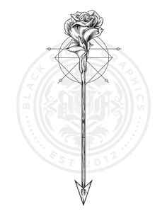 Rose & Arrow Tattoo design I did for giz-khalifaa Can't wait to see what it lo. - Rose & Arrow Tattoo design I did for giz-khalifaa Can't wait to see what it looks like when it' - Arrow Tattoo Ribs, Bow Arrow Tattoos, Infinity Arrow Tattoo, Arrow Tattoos For Women, Meaning Of Arrow Tattoo, Dragon Tattoo For Women, Back Tattoo, Tattoos For Guys, Wolf Tattoos