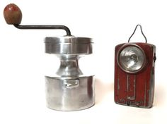 French coffee grinder. Aluminium 1960 s coffee mill. Rustic decor.Industrial home, collection , camping, travel ...