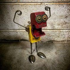 object robot sculpture assemblage by Brian M. - Found object robot sculpture assemblage by Brian M. -Found object robot sculpture assemblage by Brian M. - Found object robot sculpture assemblage by Brian M. Recycled Robot, Recycled Art, Metal Tree Wall Art, Scrap Metal Art, Found Object Art, Found Art, Welding Art, Arc Welding, Robot Art