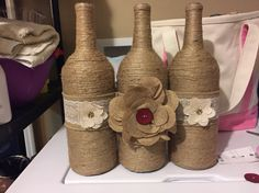 More jute wrapped wine bottles I made!!
