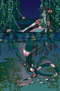 Monet's Water Lilly Mermaid ~ by Kanansai Disney Dragon, Male Mermaid, Chibi Couple, My Little Pony Princess, Doll Divine, Bird Book, Guild Wars, Emo Scene, Anime Animals