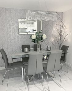 Spend save CODE: Spend save CODE: Spend save CODE: Ends Wednesday Get your dream spring look for less! Dining Room Table Decor, Decor Home Living Room, Room Decor Bedroom, Living Room Designs, Home Decor, Silver Living Room, Living Room Grey, Grey Wallpaper Living Room, Kitchen Room Design