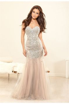 Gorgeous Mermaid Strapless Champagne Tulle Sequins Beaded Evening Prom Dress