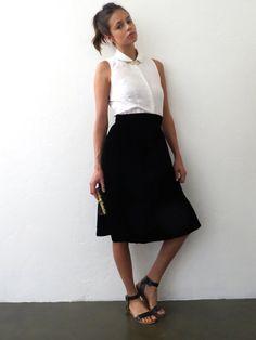 Black Velvet Midi Skirt // Small Mid Length Vintage by BarnabyJack, $26.00