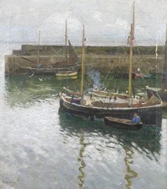 Harold Harvey (British, 1874-1941), 'Boats at Newlyn Harbour', signed and indistinctly dated 'Harold Harvey/13' (lower left), oil on canvas, 51 x 46cm (20 1/16 x 18 1/8in). West Cornwall, Cornwall England, Irish Art, Art Store, Oil Paintings, Landscape Paintings, Fishing Boats, Beautiful Paintings, Interesting Stuff