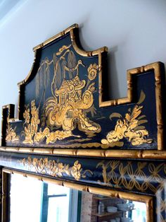 Pair of Italian Chinoiserie Pagoda Mirrors with Bamboo Frame in Stunning Black and Gold