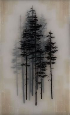 """Paint black trees on vellum. Stack. Frame. This would make quite an impact as a large painting..."" -another pinner"