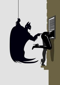 Batman poking Catwoman
