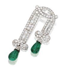 Platinum, Diamond and Emerald Brooch, France, Circa 1930 | Lot | Sotheby's