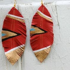 DIY Tribal Leather Earrings - Made from leather scraps, and a little paint... in less than 30 minutes.