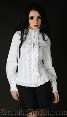"""<p>White Victorian Blouse</p><br /> <p><span lang=""""en-US"""">White, long sleeved blouse with a victorian touch. Ruffles, high collar and a lovely lace going along the buttons.</span><br /></span></p><br /> <p><span lang=""""en-US""""><span style=""""font-size: 12px;""""></span><br /></span></p><br /> <p><span lang=""""en-US"""">Made of 100 % cotton.</span></p>"""