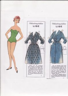 Swedish paper doll Lise from Diligent Hands magazine, same as Industrious Hands magazine on other dolls. / dukkesiderne.dk