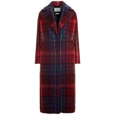Tommy X Gigi Tartan Maxi Coat ($485) ❤ liked on Polyvore featuring outerwear, coats, checked coat, plaid coat, red plaid coat, red coat and checkered coat