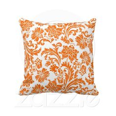 Tangerine Damask  Vibrant tangerine orange damask and white throw pillow by American MoJo easily add a bright pop of color to any room!