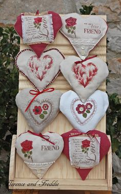 Fabric Hearts decorated using rubber stamps