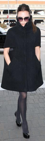 Victoria Beckham Wool Coat...SHE HAS NEVER EATEN A COOKIE FOR REAL...DISCIPLINE ON ALL LEVELS AND PROB SOME LIPO MAYBE TO HAVE THIS BODY...4 KIDS TOO XOXO TO VICTORIA
