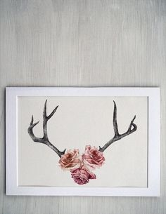 Floral Rose Antler Illustration -- Contemporary Floral mounted art print Tattoo idea