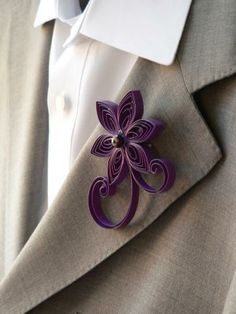 dark royal plum Purple Wedding Boutonniere - made out of flax in a star / frangipani shape?  US$16.00