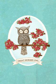 owl art print- Great Horned Owl Print - Nursery art prints, baby nursery, nursery decor, nursery wall art, kids art, bird art. $8.00, via Etsy.