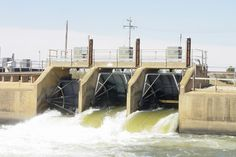 """The Drop hydro plant in New South Wales, Australia """"Pacific Hydro recognised the powerful flows of water released for irrigation purposes from the Southern Hemisphere's largest irrigation channel, the Mulwala Canal, as an untapped source of hydro power. Irrigation, South Wales, Southern, Channel, Drop, Australia, Water, Board, Plants"""