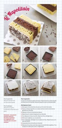 [ Napolitain maison Homemade Neapolitan recipe for children's snacks – step-by-step photo technique Sweet Recipes, Cake Recipes, Dessert Recipes, Food Tags, Technique Photo, Kids Meals, Food And Drink, Cooking Recipes, Desert Recipes