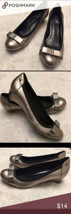 Pewter/Bronze flats with bow sz 10 Diana Buchman shoes. Excellent condition very gently worn. Only a few minor scuffs on the bottom of toe area. See pics for full disclosure of condition. Shoes Flats & Loafers