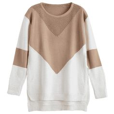 Geometric Contrasting High Low Sweater Khaki ($22) ❤ liked on Polyvore featuring tops and sweaters