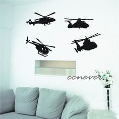 4 sets airplane helicopter----Removable Graphic Art wall decals stickers home decor. $32.99, via Etsy.