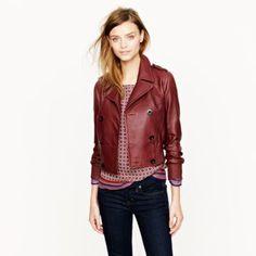 Beautiful leather bomber jacket.