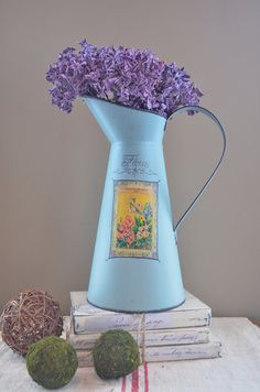 Tall Duck Egg Blue, Hand Painted Metal Pitcher with Vintage Flower Seed Pack