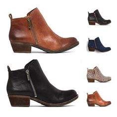21e9c3ab0be New Womens New Leather Suede Booties Chunky Heel Ankle Vintage Boots