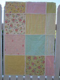 Girls Rag Quilt - Soft Pastels with Vintage Baby fabric print | LittleStarrs | madeit.com.au