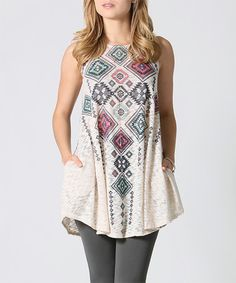 Look what I found on #zulily! Taupe Geo Side-Pocket Swing Top #zulilyfinds