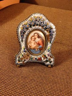 Italian Micro Mosaic Frame Beautiful 3D Multi Floral Porcelain Mother and Child