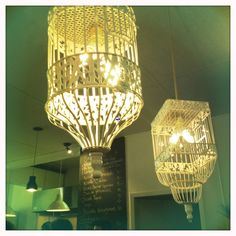 Bird cage lamp. See in a coffe shop in Montreal.