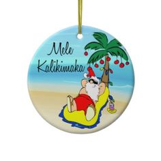 Palm Tree Santa Hawaiian Christmas Ornament by celebrateitornaments Tropical Christmas Ornaments, Beach Christmas, Christmas Art, Christmas Holidays, Christmas Ideas, Coastal Christmas, Christmas Stuff, Happy Holidays, Holiday Ideas