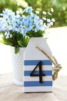 Ideas House Party Decorations Table Numbers For 2019 House Party Decorations, Table Decorations, Baseball Hat Racks, Nautical Table, Nautical Kitchen, Nautical Wedding, Kitchen Decor, Blue Spray Paint, Wood Tags