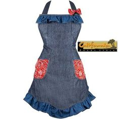 Denim Designer Hostess Apron w Ruffles Bow Kitchen BBQ Bandana Country Cowgirl | eBay