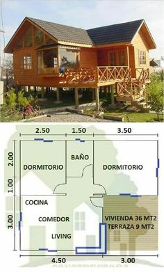 Little House Plans, Cabin House Plans, Tiny House Cabin, Bedroom House Plans, Small House Plans, House Floor Plans, Bamboo House Design, Wooden House Design, Tiny House Design