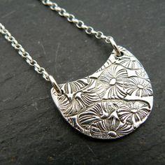 Silver Handmade Crescent Floral Pendant by PreciousSparkleGifts, £29.00