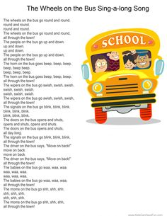 The Wheels on the Bus sing-a-long poster. Visit us to print the play signs for kids to hold up while they sing. Find these fun activities and more in the School Zone under Teacher Printables Rhyming Preschool, Rhyming Activities, Preschool Music, Nursery Rhymes Lyrics, Kids Nursery Rhymes, Rhymes For Kids, Songs For Toddlers, Kindergarten Songs, Childhood