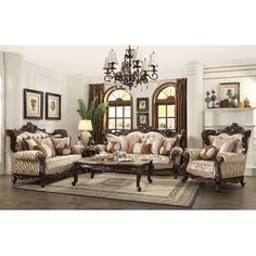 Acme 2 pc Astoria grand camren shalisa walnut finish wood fabric sofa and love seat set. This set includes the Sofa and love seat with padded backs and throw pillows, with carved accents. Sofa measures x x H. Love seat measures x Acme Furniture, Coaster Furniture, Elegant Sofa, Beautiful Sofas, Wood Trim, Living Room Sets, Living Room Images, Living Room Decor, Fabric Sofa