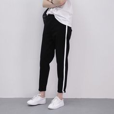 Casual Long Trousers For Women Black Side Striped Thin Ankle-Length Pants Female Pencil Pant 2018 Autumn Women Harem Pants Trouser Pants, Harem Pants, Jogger Pants, Vinyl Pants, Pants For Women, Clothes For Women, Ankle Length Pants, Fashion Pants, Fashion Sweatpants