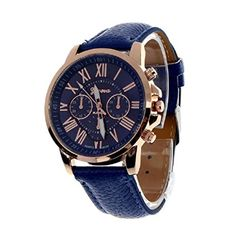 Beautyvan,Women's Geneva Roman Numerals Faux Leather Analog Quartz Watch Dark Blue