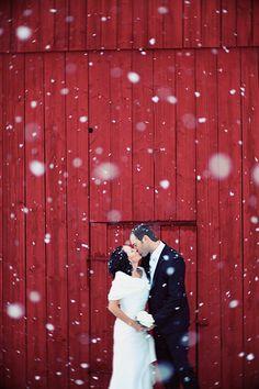 A snowy wedding
