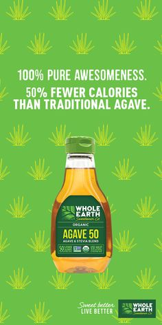 With fewer calories per serving than traditional agave, and a great sweet taste, Whole Earth Sweetener Agave 50 is perfect on anything. This blend of organic blue agave and organic stevia is perfect on just about everything. Just a little drizzle goes a long way. Try it in your favorite cocktail or drink, or pour some over ice cream or yogurt. For an extra tasty touch, add this sweet stuff to your morning breakfast. Whole Earth Sweetener Agave 50 goes great on pancakes, French toast and sweet mi