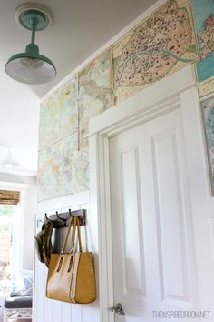 Budget DIY Map Wallpaper {Small Hallway} - The Inspired Room Home Projects, Diy Accent Wall, Decorating Your Home, Home, House, Interior, Small Hallways, Moving Apartment, Room Inspiration
