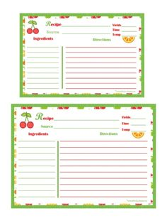 Christmas Baking Recipe Card Full Page  Recipe Cards